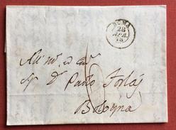 PREFILATELICA COMPLETA DI TESTO INTERESSANTE CON TASSA 6 DA ROMA A BOLOGNA IN DATA 28/4/1848 - 1. ...-1850 Prefilatelia
