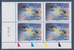= Loi Sur L'Organisation Du Crédit Au Commerce Et à L'industrie Coin Daté 09.01.17 Neuf Gommé 4x 0.85€ N°5132 - 2010-....