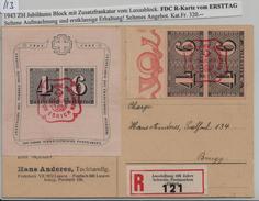 Jubiläumsblock 100 Postmarken W14 Bl. 8 W15 419 FDC R-Karte Ersttag Nach Brugg 26. II. 1943 - Blocs & Feuillets