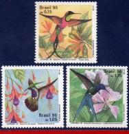 Ref. BR-2583-85 BRAZIL 1996 BIRDS, HUMMINGBIRDS AND FLOWERS,, MI# 2700-02, SET MNH 3V Sc# 2583-2585