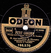 78 T - 25 Cm.- état B - Jean LUMIERE - PETIT CHAGRIN - LE COFFRET - 78 Rpm - Schellackplatten