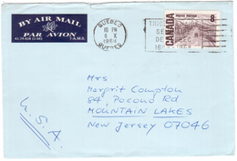 KN87    Canada 1968 - Airmail Letter From Quebec In Mountain Lakes USA - 1952-.... Elizabeth II