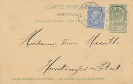 YY092 --  Entier Armoiries + TP Fine Barbe EXPRES Télégraphique MARCHE 1897 Vers Gare De HAUTRAGE Etat - Entiers Postaux