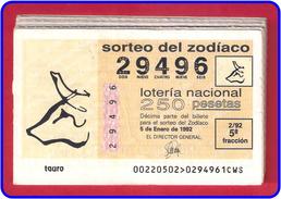 AÑO 1992 COMPLETO DE LOTERIA NACIONAL DEL ZODIACO - Billetes De Lotería