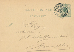 YY095 --  Entier Lion Couché BRUGES Station 1887 Vers Notaire à BXL - Cachet Kherkhofs , Notaris BRUGGE - Entiers Postaux