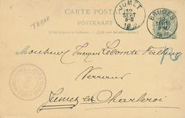 YY096 --  Entier Lion Couché BRUGES 1892 Vers JUMET - Cachet Storie Vanden Abeele Tabacs Cigares - Entiers Postaux