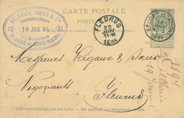 YY097 --  Entier Armoiries BRUGES Station 1894 Vers FLEURUS - Cachet Delhaize Frères Manufacture De Brosses à ST ANDRIES - Entiers Postaux