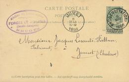 YY098 --  Entier Armoiries BRUGES Station 1896 Vers JUMET - Cachet S.A. Forges Et Aciéries - Entiers Postaux