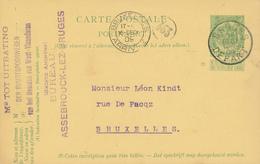 YY099 --  Entier Armoiries BRUGES 1909 Vers BXL - Cachet Buurtspoorwegen West Vlaanderen - Bureau ASSEBROUCK - Entiers Postaux
