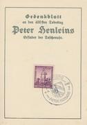 DR Gedenkblatt Peter Henlein Minr.819 SST Nürnberg 6.9.42 - Briefe U. Dokumente