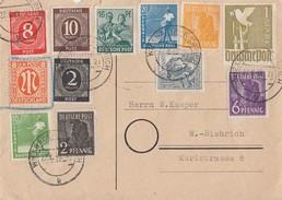 Gemeinschaftsausgabe Karte Zehnfachfrankatur Wiesbaden-Biebrich 22.6.48 - Gemeinschaftsausgaben