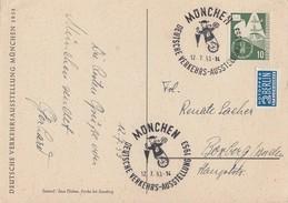 Bund Anlasskarte Dt. Verkehrsausstellung 1953 EF Minr.168 SST München 12.7.53 - BRD