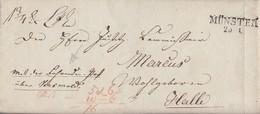 Preussen Brief L2 Münster 25.1.1827 Gel. Nach Halle Mit Der Fahrenden Post über Versmold Seltener Brief !!!!!!!!!!! - Prusse