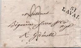 Lac De 1827 - Marquage Linéaire De Laval à Grénoble - Marcophilie (Lettres)