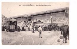 16 Angouleme Les Halles Centrales Cpa Animée Tram Tramway Cachet Origine Locale - Angouleme