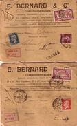MERSON - PASTEUR - SEMEUSE - 3 ENVELOPPES ENTETES RECOMMANDEES - VERSO CACHET DE CIRE POUR CHARGEMENT 1924/25/27 - Postmark Collection (Covers)