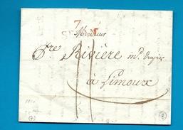 Ardennes - Sedan Pour Limoux. LAC De 1810 - Postmark Collection (Covers)