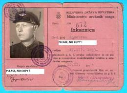 WW2 - CROATIA ( NDH ) ... ORIGINAL VINTAGE MILITARY ID CARD ... ANTE PAVELIC * Kroatien Croazia Croatie - 1939-45