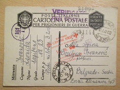 WWII 1942 Italian POW Camp Postcard With Rubber Stamp Of Serbian Red Cross- Section In Ljubljana /Slovenia - Guerra 1939-45