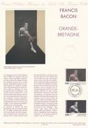 FRANCE 1992- TIMBRE 5.00 FRANCIS BACON GRANDE BRETAGNE  - OBLITERATION PREMIER JOUR 20.11.92 SUR DOC. DE LA POSTE - Gebraucht