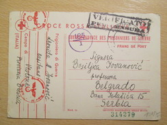 WWII 1941 Italian POW Camp Postcard With German And Italian Military Censor Marks / From Vestone To Belgrade - Guerra 1939-45