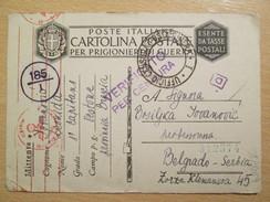 WWII 1941 Italian POW Camp Postcard With German And Italian Military Censor Mark/ From Vestone To Belgrade - Guerra 1939-45