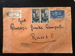 "BUSTA POSTALE RACCOMANDATA-BARI LIRE 55""MONTECASSINO"" + L.5 X 2 - 1946-60: Marcophilia"