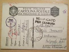 WWII 1941 Italian POW Camp Postcard With German And Italian Military Censor Marks - Guerra 1939-45
