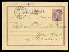 NEDERLANDS-INDIE BRIEFKAART * NA POSTTIJD * Uit 1883 Gelopen Van BANDUNG Naar SOERABAJA  (10.616h) - Nederlands-Indië