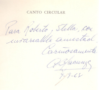 CANTO CIRCULAR LIBRO DE POESIA AUTORA ANGELICA BEATRIZ LACUNZA DEDICADO Y AUTOGRAFIADO POR LA AUTORA LIBRERIA HUEMUL - Poesía