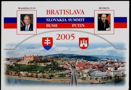 106-SLOVAKIA, USA+RUSSIA Summit Bratislava Presidents V. PUTIN+G. BUSH+slovak President I. GASPAROVIC 2005 - Persönlichkeiten