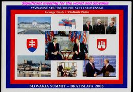 107-SLOVAKIA, USA+RUSSIA Summit Bratislava Presidents V. PUTIN+G. BUSH+slovak President I. GASPAROVIC 2005 - Persönlichkeiten