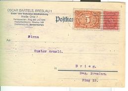 Deutches Reich, Carte Postale De Production Privée, 15  PF.- POSTKARTE - BRESLAU - Deutschland