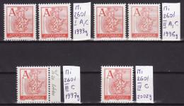 YUGOSLAVIA 1993./2002. Definitive, MNH (**), Mi 2601 I A, C; II A, C; III C; IV C - 1992-2003 Sozialistische Republik Jugoslawien