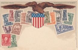 BRIEFMARKENKARTE  USA Von Othmar Zieher München, Alte Litho Karte Ungebraucht - Briefmarken (Abbildungen)