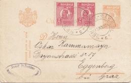 RUMÄNIEN 1924 - 50 L Ganzsache + 2 X 2 Lei Zusatzfr. Auf Pk Gel.v.Sebesul N. Eggenberg - Ganzsachen