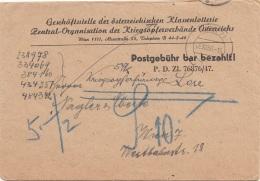 ÖSTERREICH 1950 - Brief Der Österr.Klassanlotterie Zentral Org.d.Krigsopferverbänd Wien, 10 S Nachporto ... - 1945-.... 2. Republik