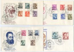 1961 MICHELANGIOLESCA 19 VALORI COMPLETA SU 4 BUSTE FDC ANNULLO SPECIALE SPLENDIDA QUALITÀ (A893) - 6. 1946-.. Repubblica