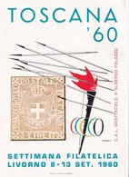 1960 TOSCANA LIVORNO MOSTRA FILATELICA SPORT OLIMPICO ANNULLO SPECIALE FIGURATO SPLENDIDA (A897) - Estate 1960: Roma