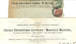 F.U.C.I. CIRCOLO UNIVERSITARIO- BOLOGNA- BUSTA VIAGGIATA 1926, CON LETTERA, - Documenti Storici