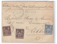 FRANCE --TYPE SAGE --LETTRE DE PARIS MALESHERBES--1897--POUR LILLE - Marcophilie (Lettres)