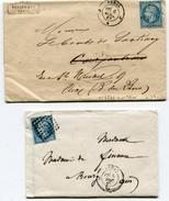PARIS2 LAC Du 05/12/1862 Et Du 06/04/1863 Avec N°22 Oblitéré Du Bureau J + Dateur 1521 - 1849-1876: Periodo Clásico