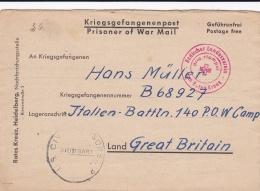 Prisoner Of War To German POW In Great Britain, Italien Bataillon Camp 140 W/cachet From Red Cross Badischer Landesverei - Militaria