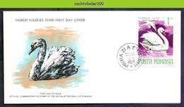 Mkl1040b WWF VOGEL BIRD ZWAAN SWAN VÖGEL AVES OISEAUX ROMANA 1977 FDC