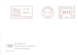 POSTMARKET  CIO SUIZA 1996 - Juegos Olímpicos