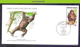 Mkl1054b FAUNA WWF ZOOGDIEREN APEN AAP MONKEY CHIMPANSEE MAMMALS PRIMATES TOGO 1977 FDC - Apen