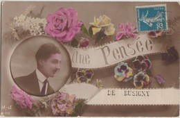 CPA 59 BUSIGNY Souvenir Fantaisie Une Pensée Homme Elegant Fleurs Carte Colorisée 1921 - France