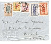 TP 277-278-291 Masques-305-306 Fleurs Belgisch Congo Belge S/L.Avion C.Nya-Lukemba 5/2/1953 V.Bruxelles PR4339 - Belgian Congo
