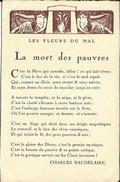 """CPA Fantaisie - Poésie De Charles Baudelaire - """" Les Fleurs Du Mal """" - """" La Mort Des Pauvres """". - Arts"""
