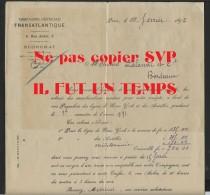 75 PARIS -  Compagnie Générale TRANSATLANTIQUE  , Rue Auber   - Cde Pour La Ligne NEW YORK Et LES ANTILL établie En 1892 - France